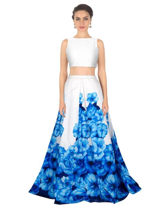 Zorba Blue Designer Lahenga Zyla Fashion