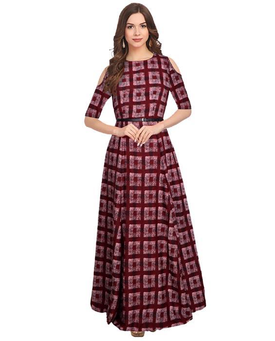 Zorba Maroon Designer Gown Zyla Fashion