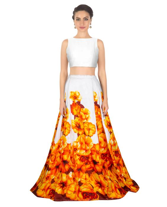 Zorba Orange Designer Lahenga Zyla Fashion