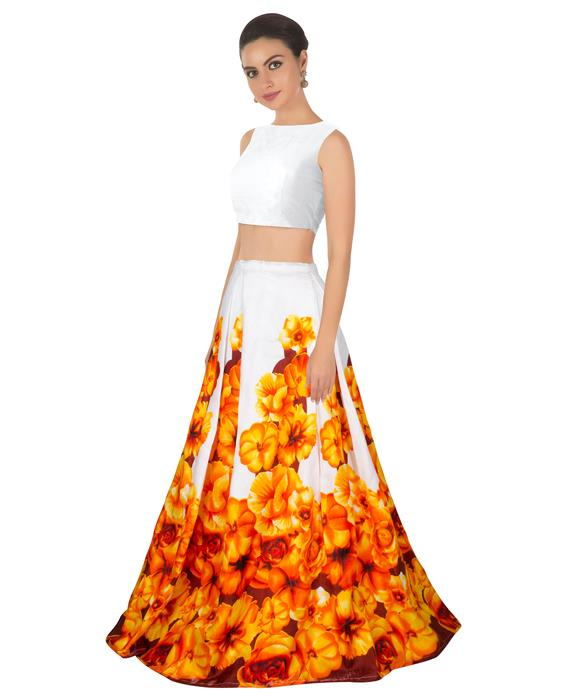 Zorba Orange Designer Lahenga Zyla Fashion